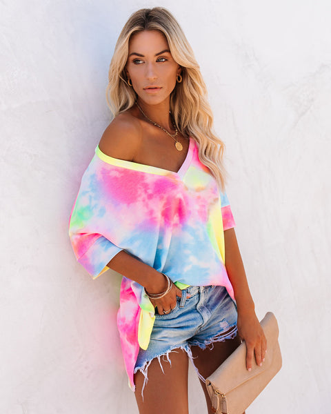 Showtime V-Neck Tie Dye Knit Tunic