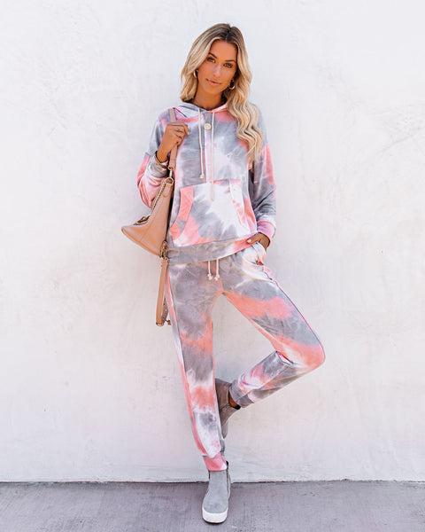 Shut-Eye Pocketed Tie Dye Knit Hoodie
