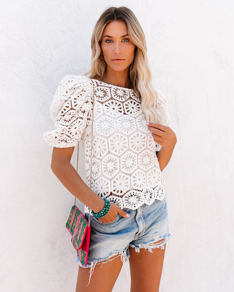 Sicily Cotton Puff Sleeve Crochet Lace Top - White