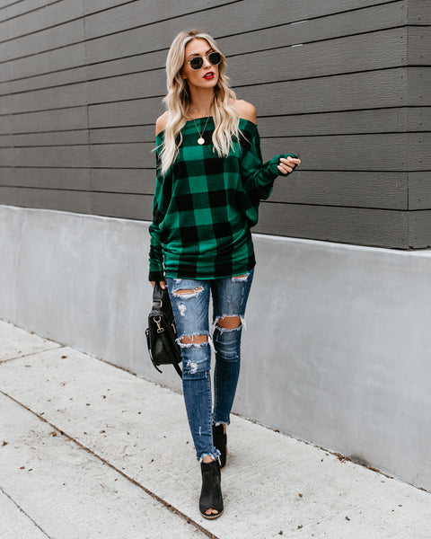 Silent Night Off The Shoulder Plaid Top - Green/Black