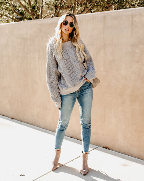 Silver Bells Chenille Cable Knit Sweater