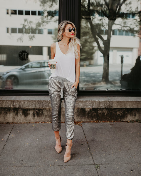 Sparks Fly Sequin Joggers - Silver