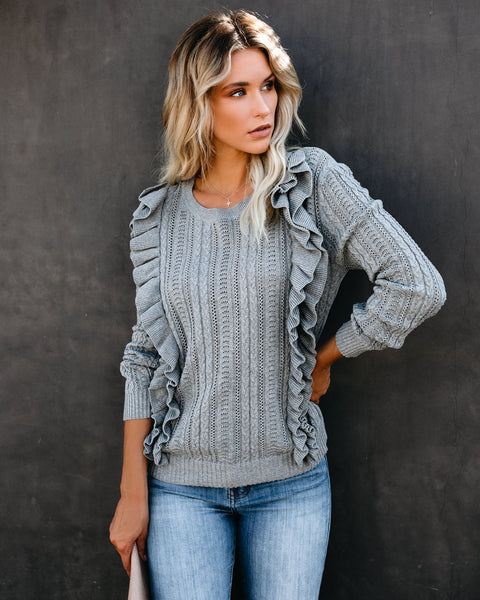Simone Cotton Ruffle Cable Knit Sweater - Heather Grey - FINAL SALE