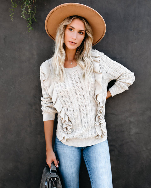 Simone Cotton Ruffle Cable Knit Sweater - Oatmeal - FINAL SALE