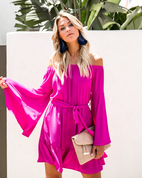 Simplicity Pocketed Off The Shoulder Dress - Fuchsia