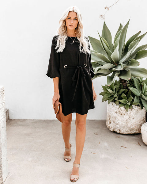 Simply Chic Grommet Tie Shift Dress - Black