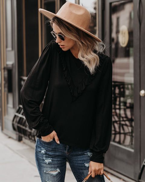 Sincere Appreciation Long Sleeve Ruffle Top - Black - FINAL SALE