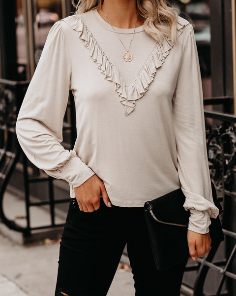 Sincere Appreciation Long Sleeve Ruffle Top - Taupe - FINAL SALE