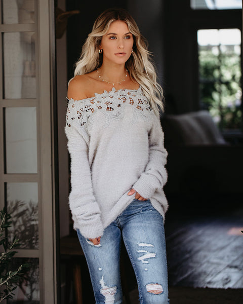 Sincerely Yours Off The Shoulder Sweater - Grey