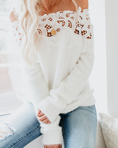 Sincerely Yours Off The Shoulder Sweater - White - FINAL SALE