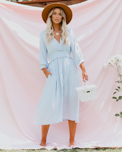 Sing Sweet Nightingale Pocketed Midi Dress - Powder Blue