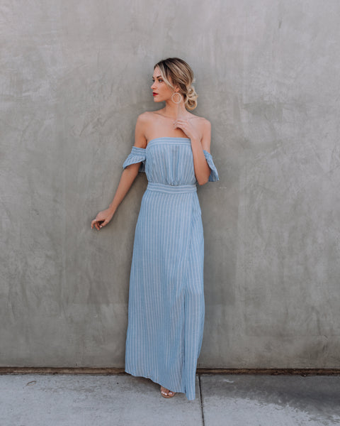 Coco Off The Shoulder Chambray Maxi Dress