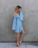 Pursuit Of Happiness Ruched Bell Sleeve Dress