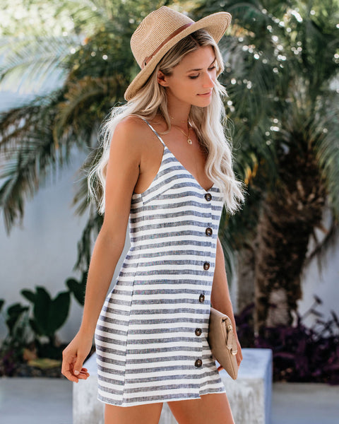 Skillful Sailor Linen Button Down Striped Tank Dress