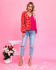 Skips A Beat Two-Tone Button Front Leopard Cardigan