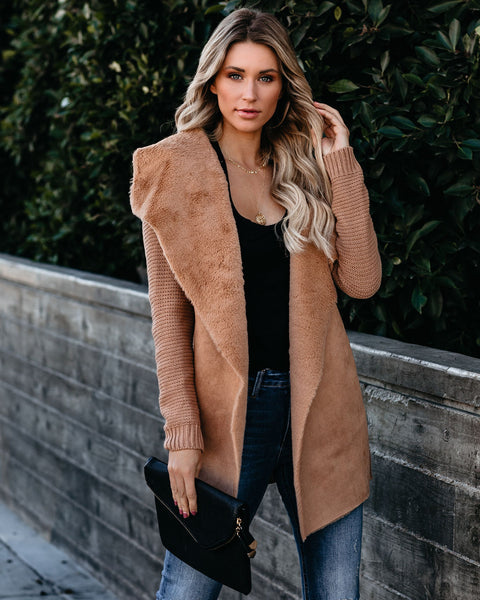 Ski Resort Faux Fur Shawl Cardigan - Camel   - FINAL SALE