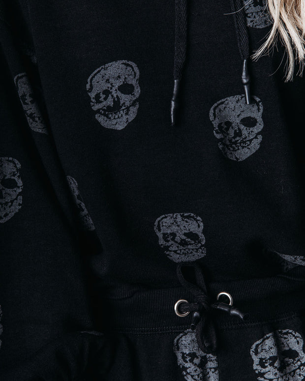 Skull Print Cotton Blend Pocketed Joggers