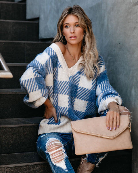 Sledding Plaid V-Neck Knit Sweater