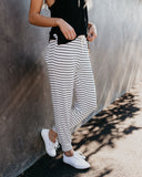 Sleep In Striped Lounge Joggers - White/Black