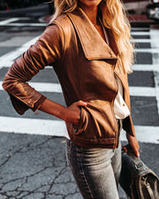 Slick Chick Coated Faux Leather Moto Jacket - Taupe