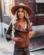 PREORDER - Slick Chick Coated Faux Leather Moto Jacket - Taupe
