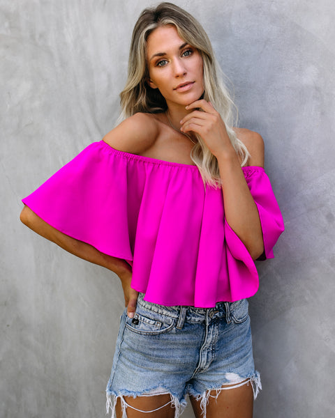 Slow Kiss Off The Shoulder Top - Barbie Pink