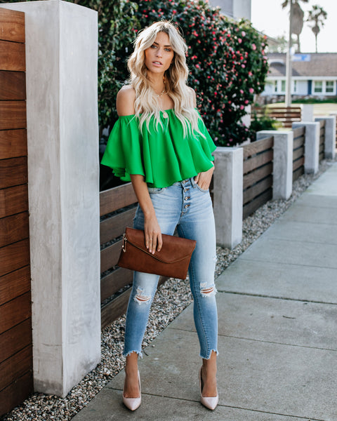 Slow Kiss Off The Shoulder Top - Kelly Green