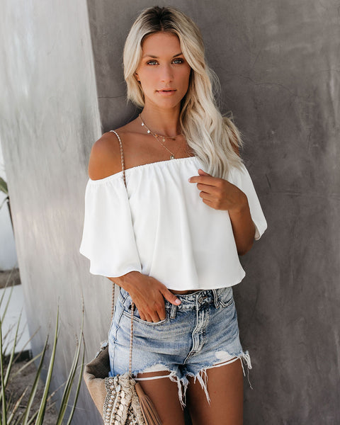 Slow Kiss Off The Shoulder Top - White
