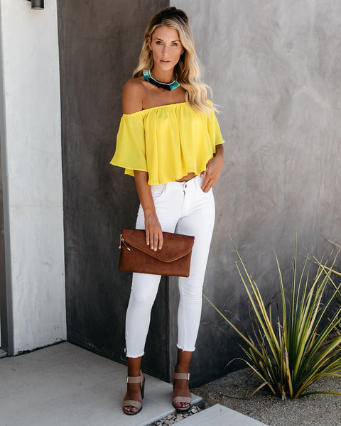 Slow Kiss Off The Shoulder Top - Yellow
