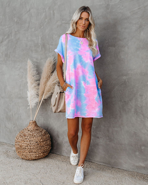 Small Delights Cotton Blend Pocketed Tie Dye T-Shirt Dress