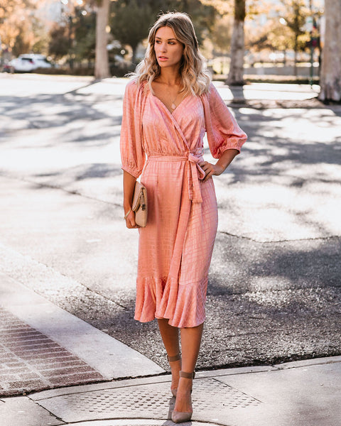 Smile And Shine Satin Wrap Midi Dress - Blush