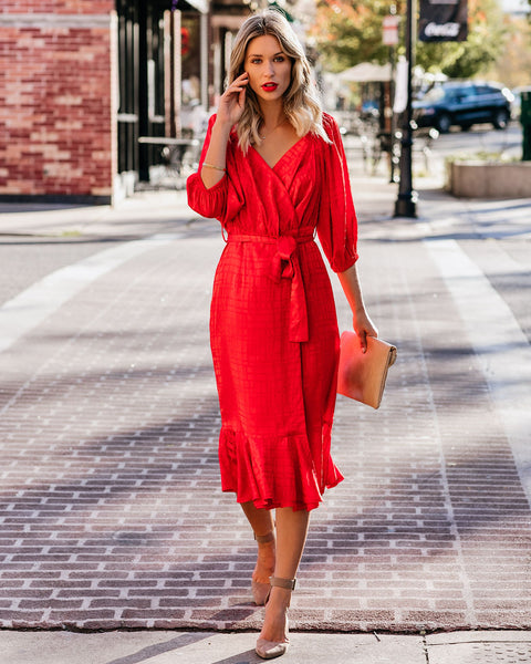 Smile And Shine Satin Wrap Midi Dress - Red