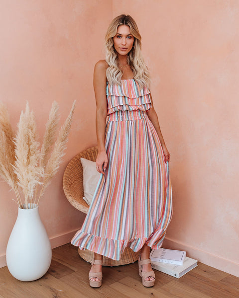 Smiley Smocked Strapless Maxi Dress