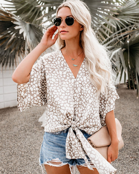 Smooth Move Leopard Satin Tie Top - FINAL SALE