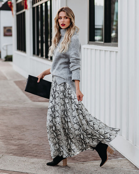 Snake It Or Leave It Pleated Maxi Skirt