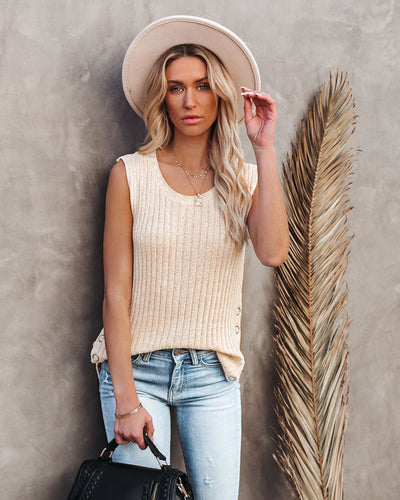 Snapshot Ribbed Sleeveless Knit Top