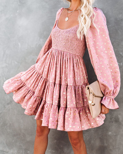 PREORDER - Snowdrop Smocked Metallic Babydoll Dress