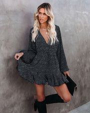 So Ditzy Printed Ruffle Romper - Black