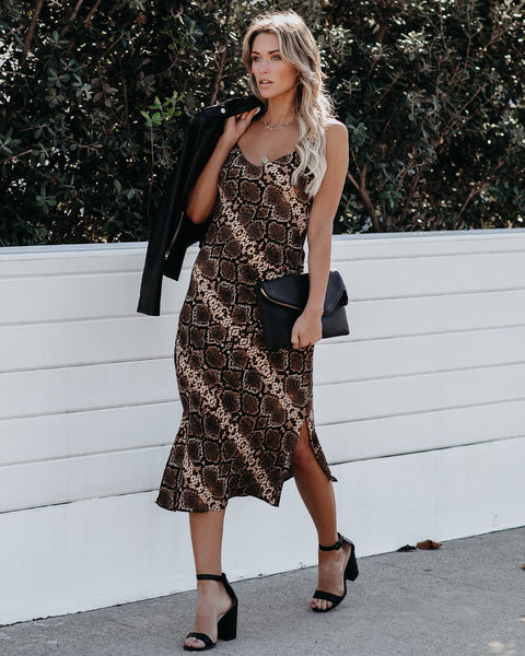 So Far, So Good Snake Print Midi Slip Dress - FINAL SALE