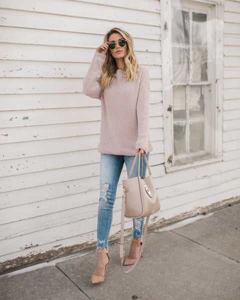 Soft As Can Be Drape Sweater - Blush