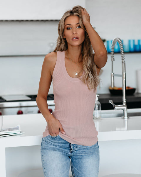 Softest Ever Ribbed Scoop Neck Tank - Twig