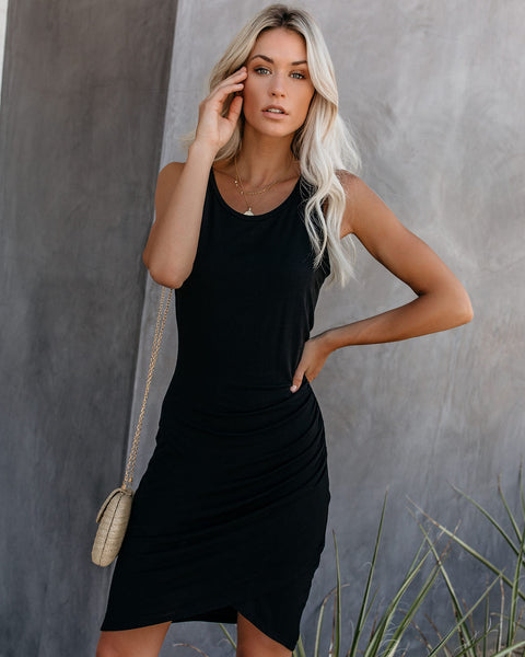 Soft Focus Ruched Tank Dress - Black