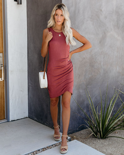 Soft Focus Ruched Tank Dress - Marsala