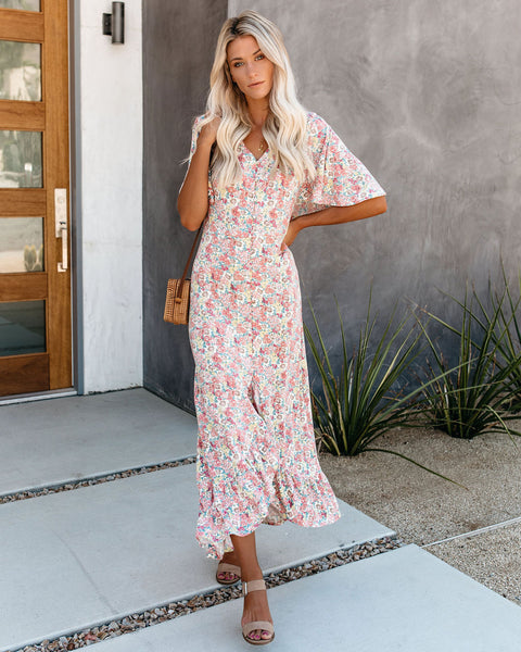 Soft Spoken Floral Button Down Maxi Dress
