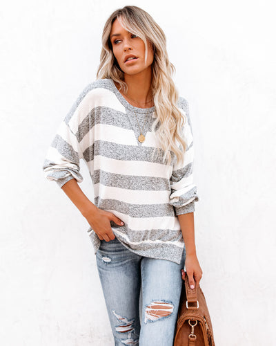 Soft Spot Striped Knit Top