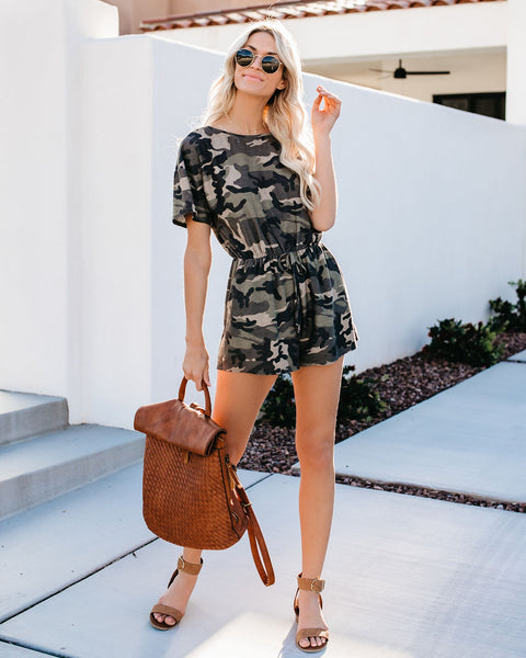 Soldier On Camo Pocketed Romper