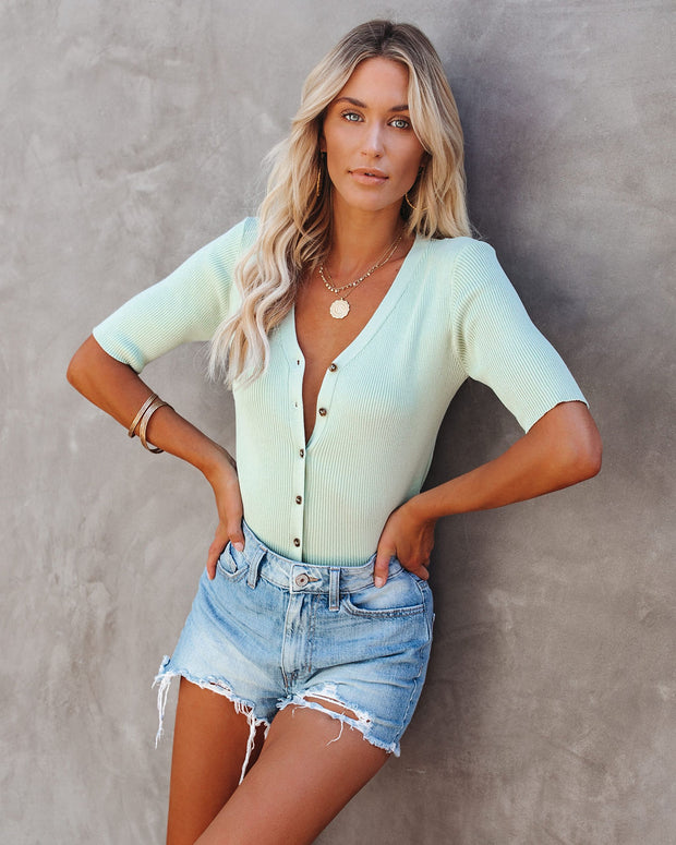Solstice Button Down Ribbed Knit Top - Mint
