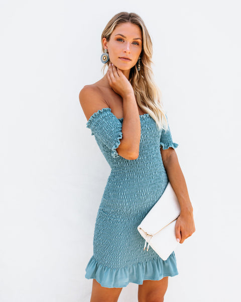 Some Like It Hot Smocked Off The Shoulder Dress - Seafoam