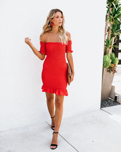 Some Like It Hot Smocked Off The Shoulder Dress - Tomato Red