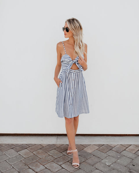 Something Blue Pocketed Striped Knot Dress